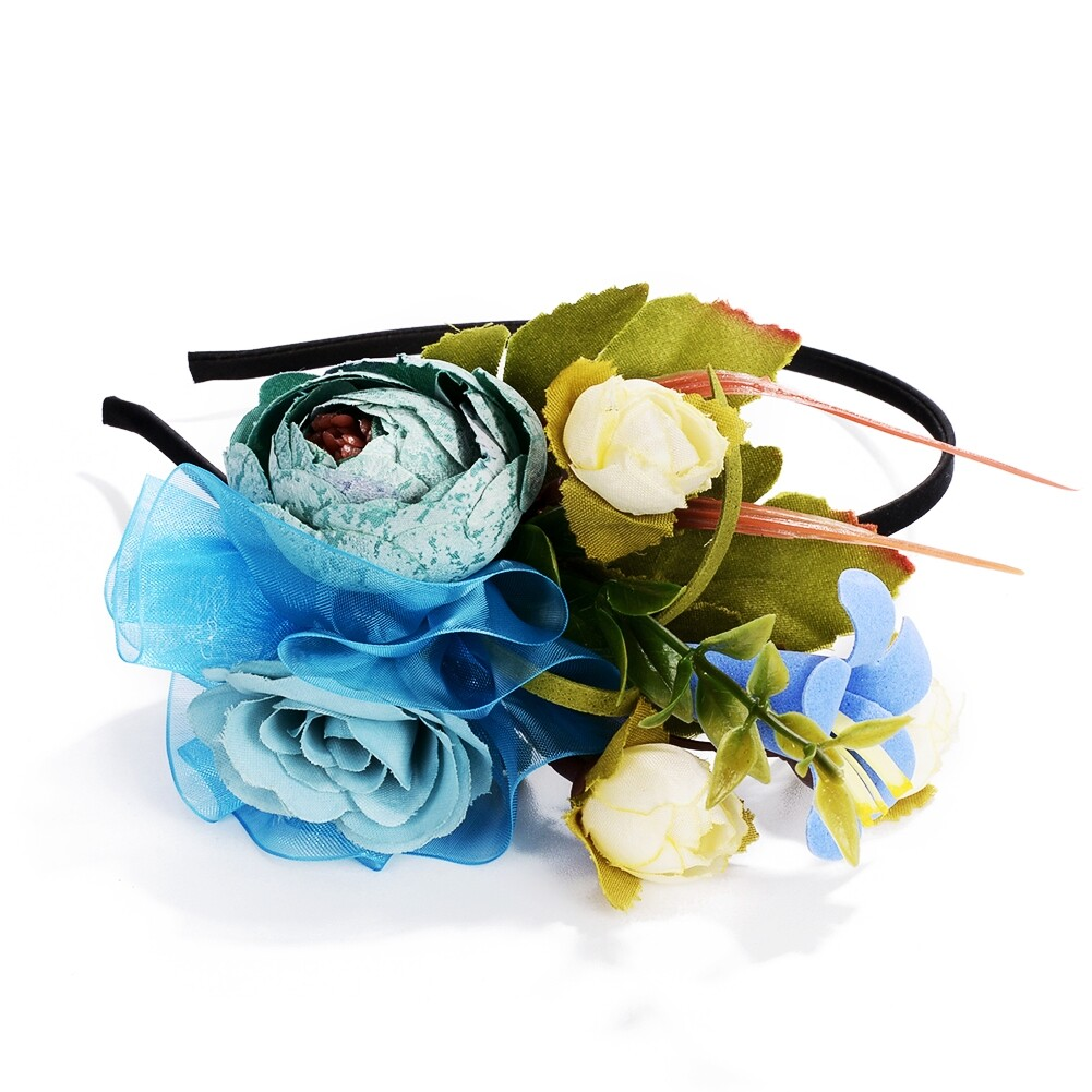 Wedding Bridal Party Artificial Fabric Flower Hair Band For Women Handmade Headband Jewelry Accessories JHE0007 3