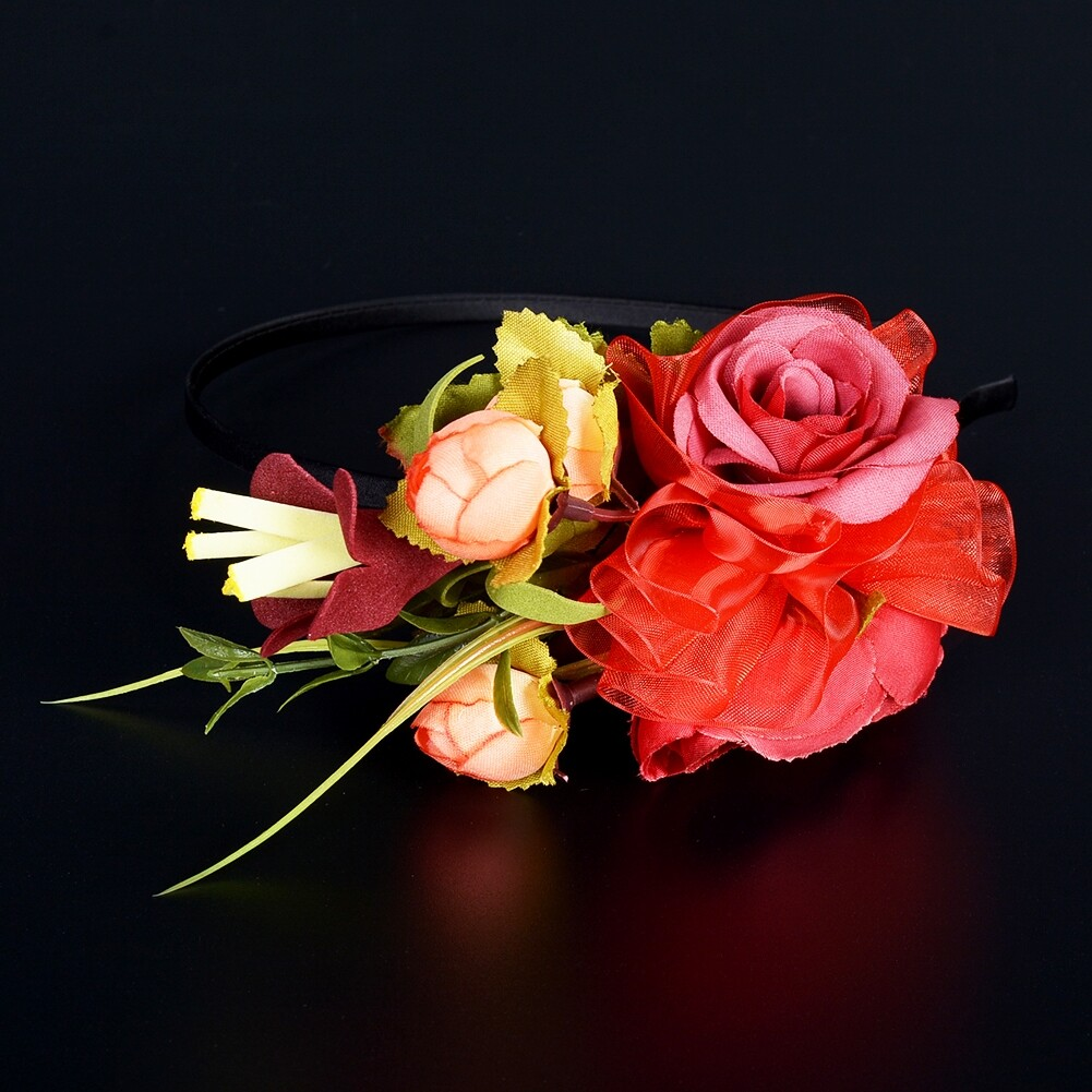 Wedding Bridal Party Artificial Fabric Flower Hair Band For Women Handmade Headband Jewelry Accessories JHE0007 14