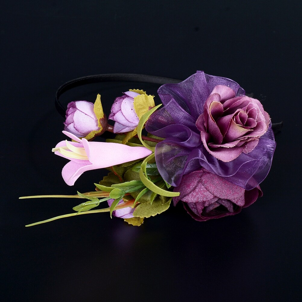 Wedding Bridal Party Artificial Fabric Flower Hair Band For Women Handmade Headband Jewelry Accessories JHE0007 19