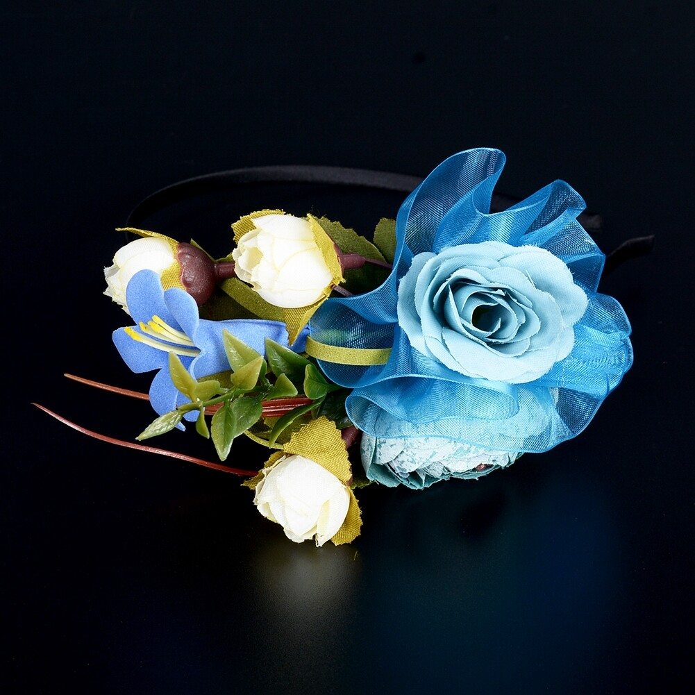 Wedding Bridal Party Artificial Fabric Flower Hair Band For Women Handmade Headband Jewelry Accessories JHE0007 9