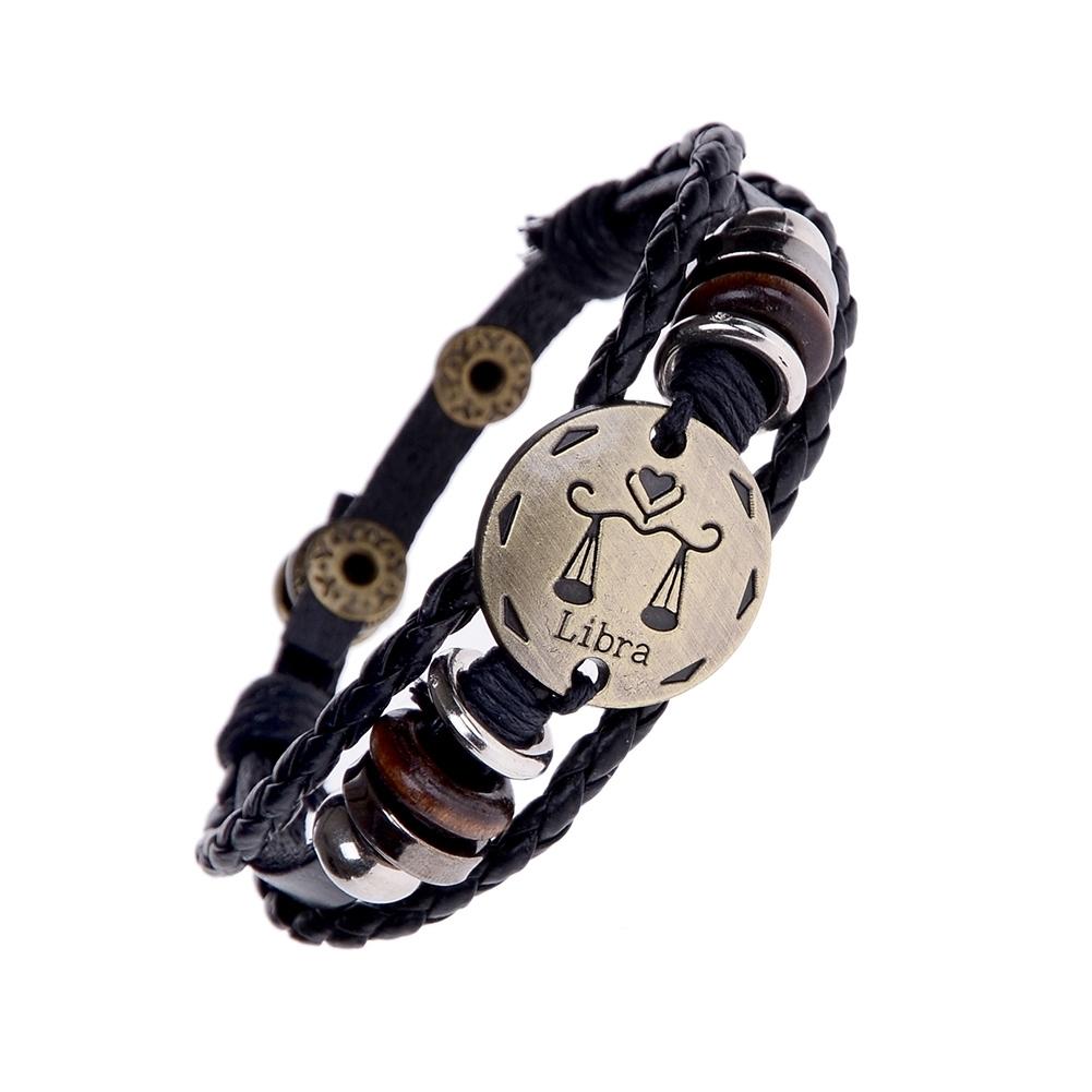 Handmade alloy bracelet 12 constellation Braided Rope Bracelet Adjustable male and female (Libra)  JBE0024@ 2