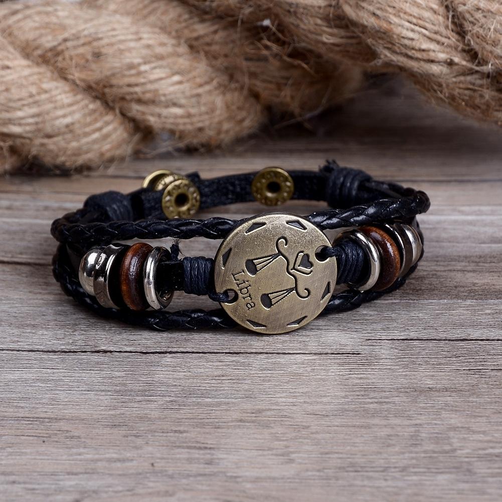 Handmade alloy bracelet 12 constellation Braided Rope Bracelet Adjustable male and female (Libra)  JBE0024@ 0