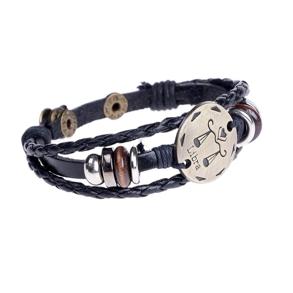 Handmade alloy bracelet 12 constellation Braided Rope Bracelet Adjustable male and female (Libra)  JBE0024@ 3