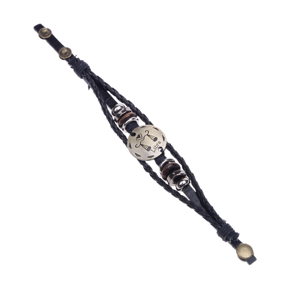 Handmade alloy bracelet 12 constellation Braided Rope Bracelet Adjustable male and female (Libra)  JBE0024@ 5