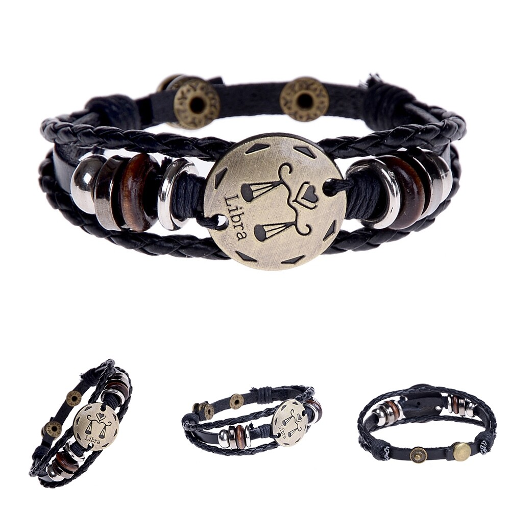 Handmade alloy bracelet 12 constellation Braided Rope Bracelet Adjustable male and female (Libra)  JBE0024@ 6