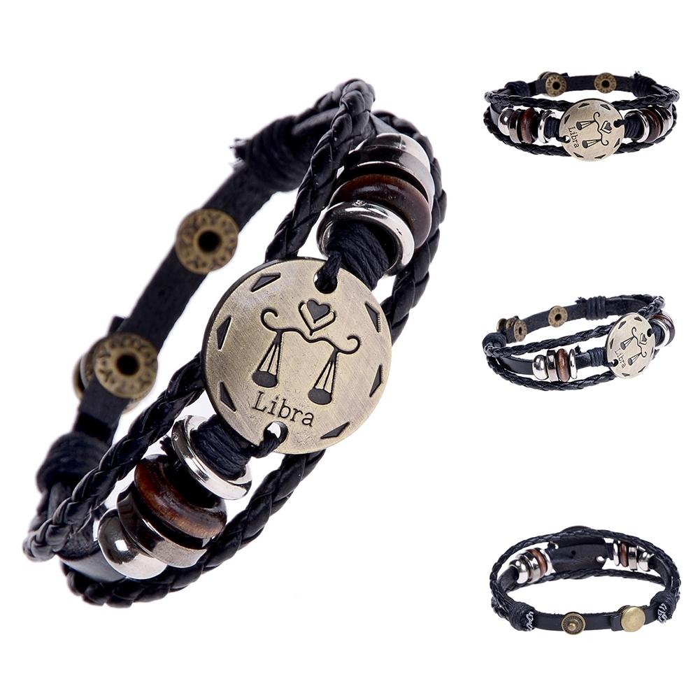 Handmade alloy bracelet 12 constellation Braided Rope Bracelet Adjustable male and female (Libra)  JBE0024@ 7