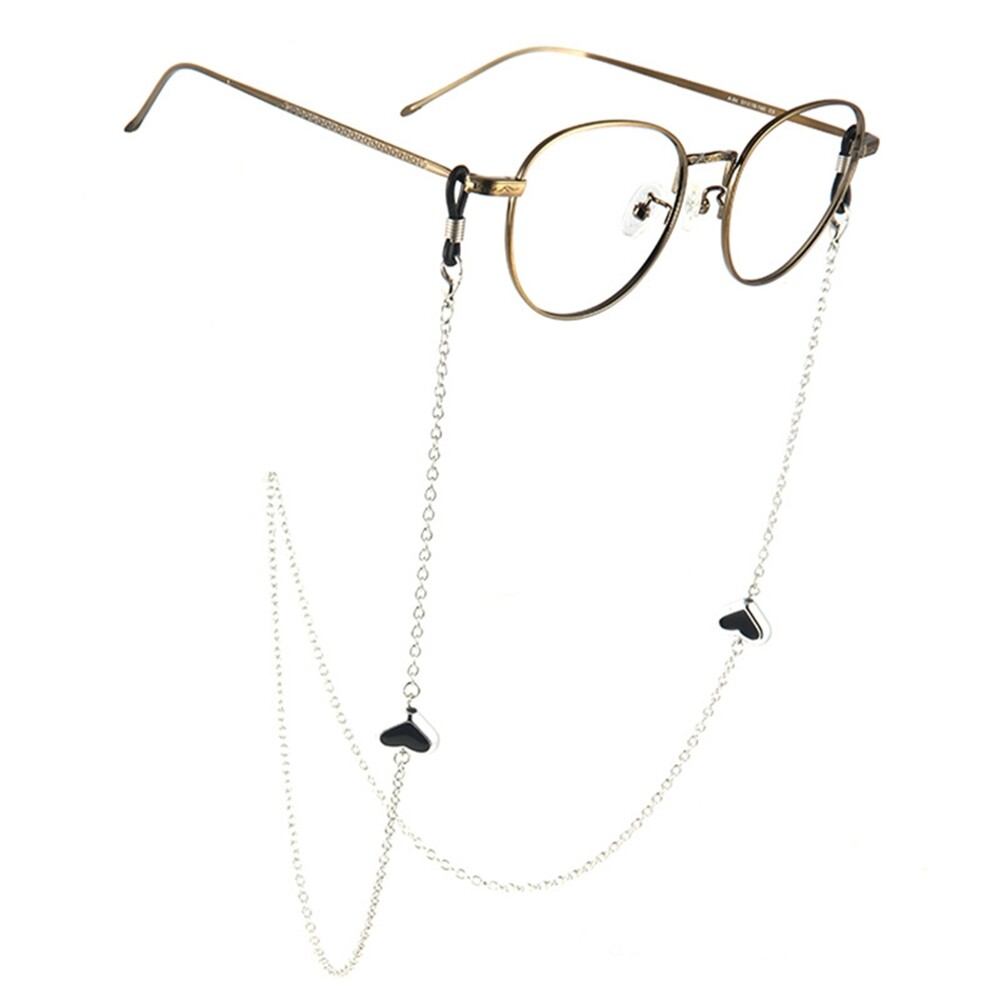 Imixlot Heart Beads Charm Silver Reading Glasses Spectacles Glasses Sunglasses Holder Neck Cord Metal Strap Chain JWP0186 0
