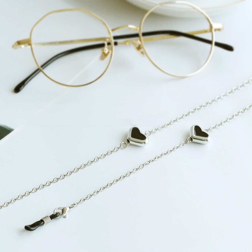 Imixlot Heart Beads Charm Silver Reading Glasses Spectacles Glasses Sunglasses Holder Neck Cord Metal Strap Chain JWP0186 1
