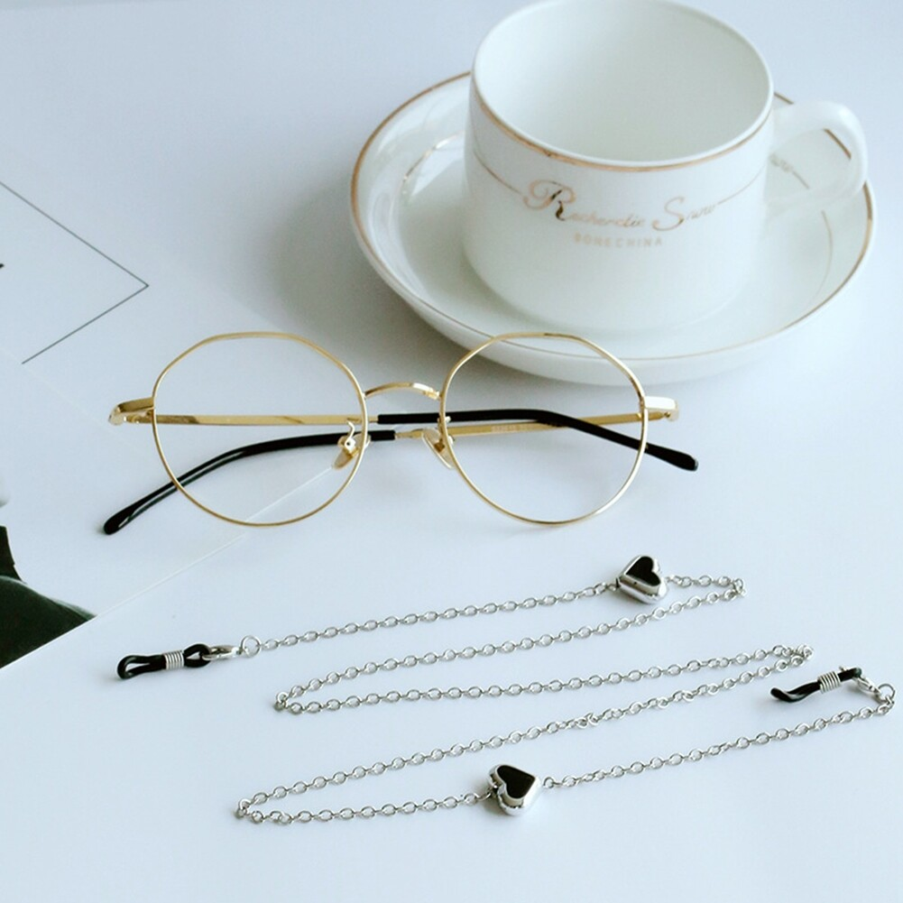 Imixlot Heart Beads Charm Silver Reading Glasses Spectacles Glasses Sunglasses Holder Neck Cord Metal Strap Chain JWP0186 2
