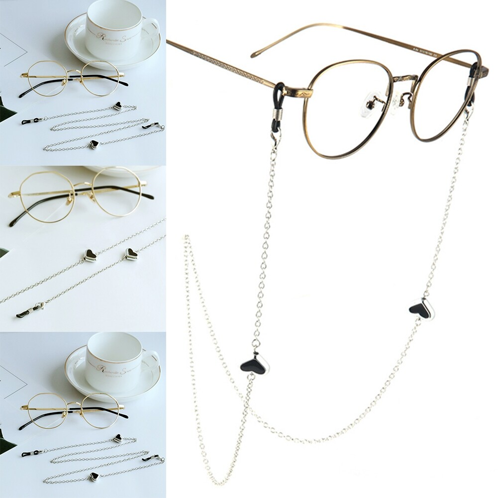 Imixlot Heart Beads Charm Silver Reading Glasses Spectacles Glasses Sunglasses Holder Neck Cord Metal Strap Chain JWP0186 5