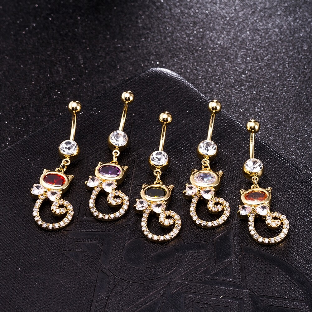 Rhinestone Piercing Belly Button Rings For Women Body Piercing Cat Styel Zircon Pendant Navel Fashion Chain Jewelry P0290 0
