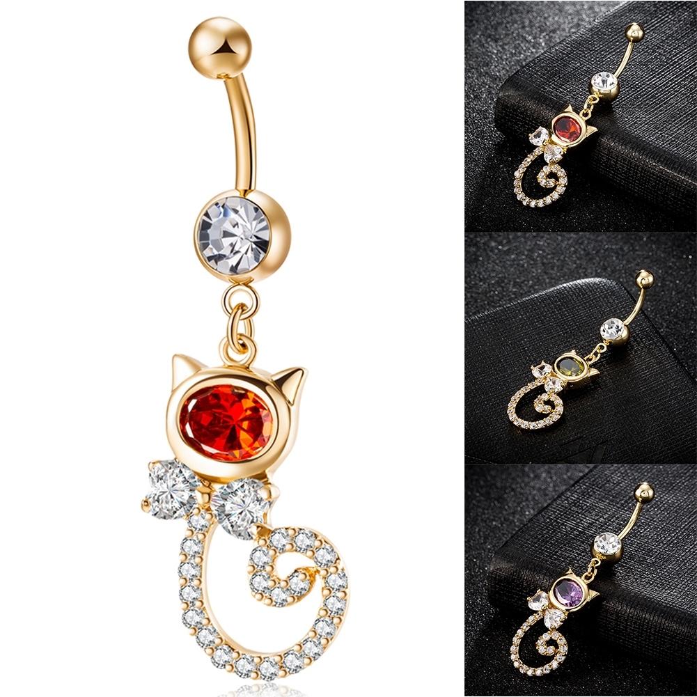 Rhinestone Piercing Belly Button Rings For Women Body Piercing Cat Styel Zircon Pendant Navel Fashion Chain Jewelry P0290 10