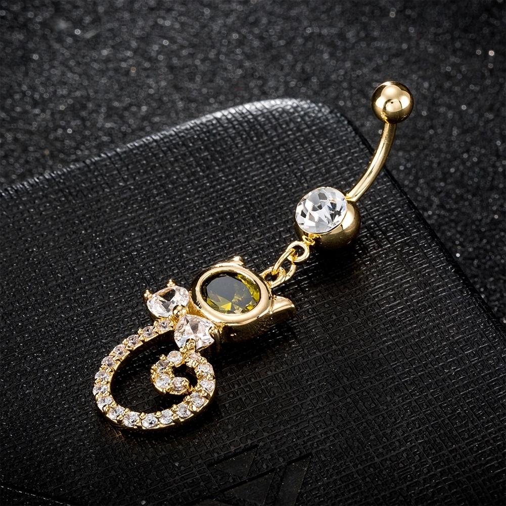 Rhinestone Piercing Belly Button Rings For Women Body Piercing Cat Styel Zircon Pendant Navel Fashion Chain Jewelry P0290 2