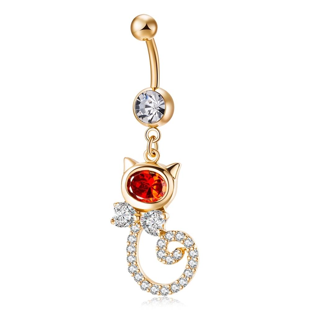 Rhinestone Piercing Belly Button Rings For Women Body Piercing Cat Styel Zircon Pendant Navel Fashion Chain Jewelry P0290 3
