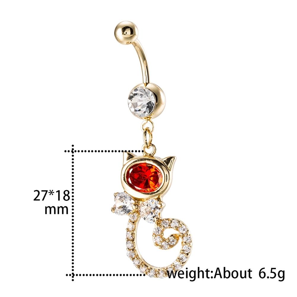 Rhinestone Piercing Belly Button Rings For Women Body Piercing Cat Styel Zircon Pendant Navel Fashion Chain Jewelry P0290 4