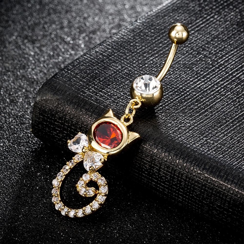 Rhinestone Piercing Belly Button Rings For Women Body Piercing Cat Styel Zircon Pendant Navel Fashion Chain Jewelry P0290 6