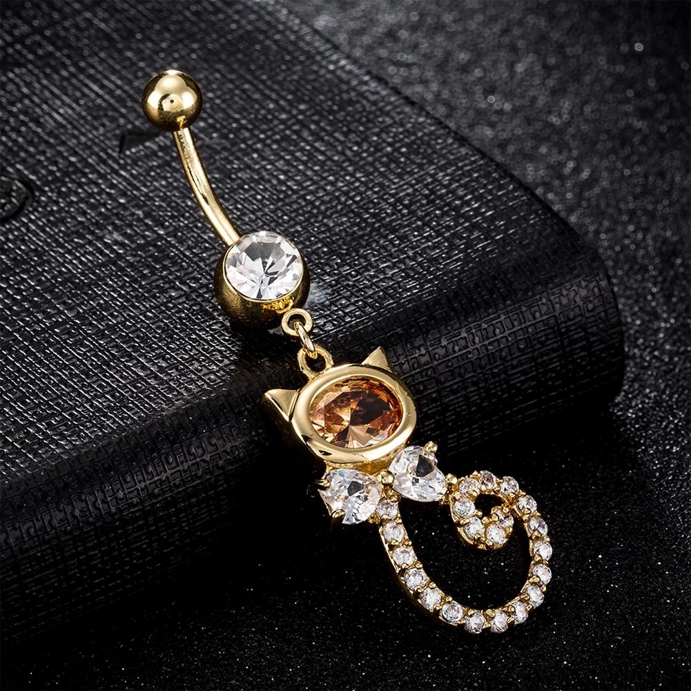 Rhinestone Piercing Belly Button Rings For Women Body Piercing Cat Styel Zircon Pendant Navel Fashion Chain Jewelry P0290 7