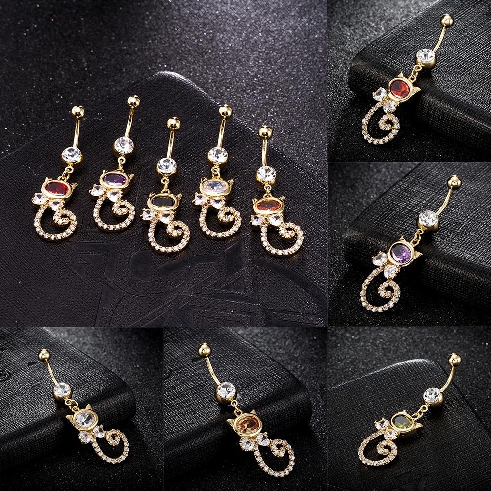 Rhinestone Piercing Belly Button Rings For Women Body Piercing Cat Styel Zircon Pendant Navel Fashion Chain Jewelry P0290 9