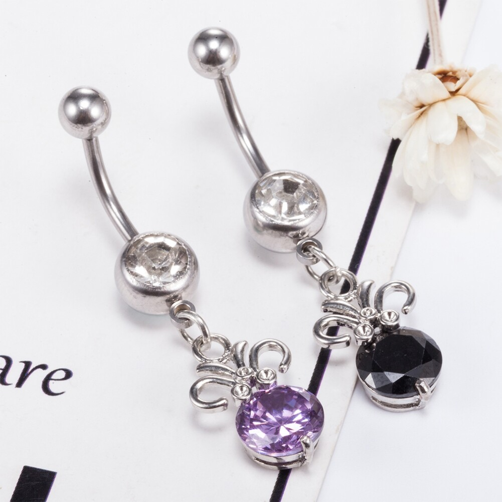 Stainless steel Belly Button Ring Body Jewelry piercing crystal stones navel umbilical nail earrings Body Jewelry P0291 0