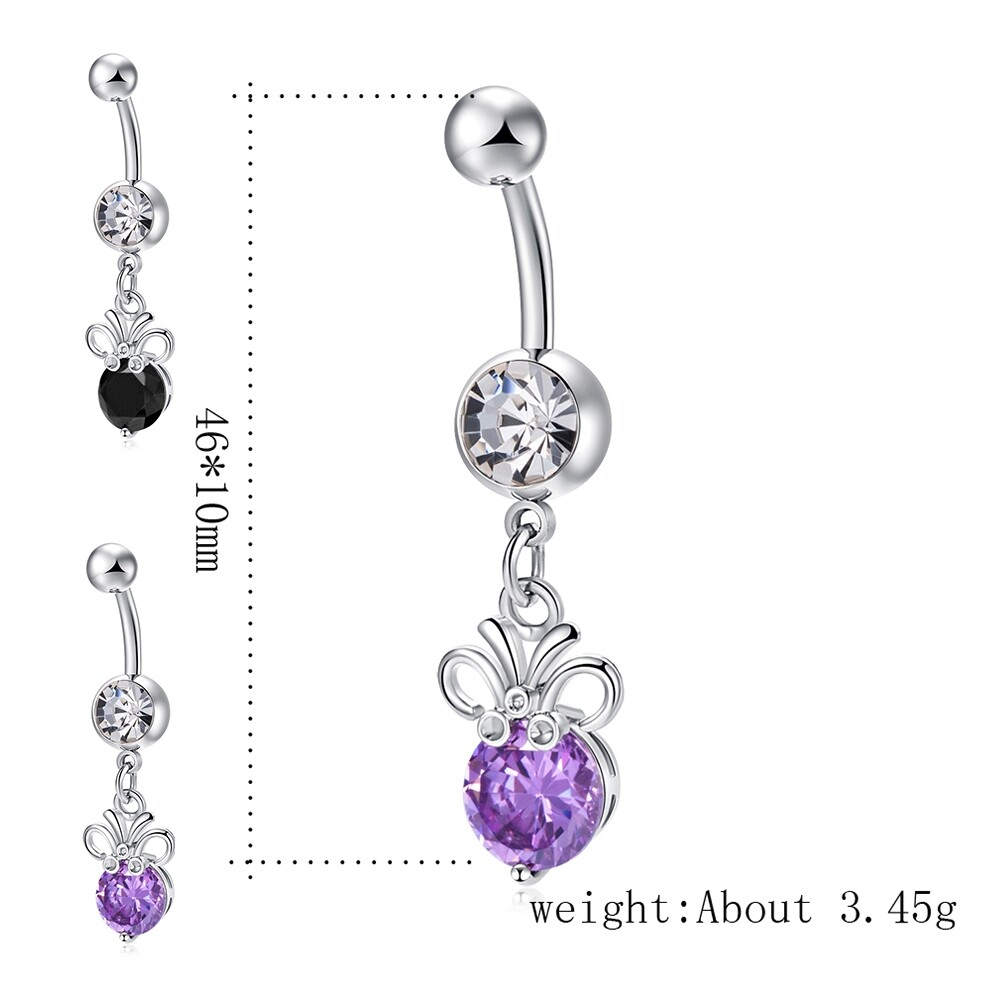 Stainless steel Belly Button Ring Body Jewelry piercing crystal stones navel umbilical nail earrings Body Jewelry P0291 8