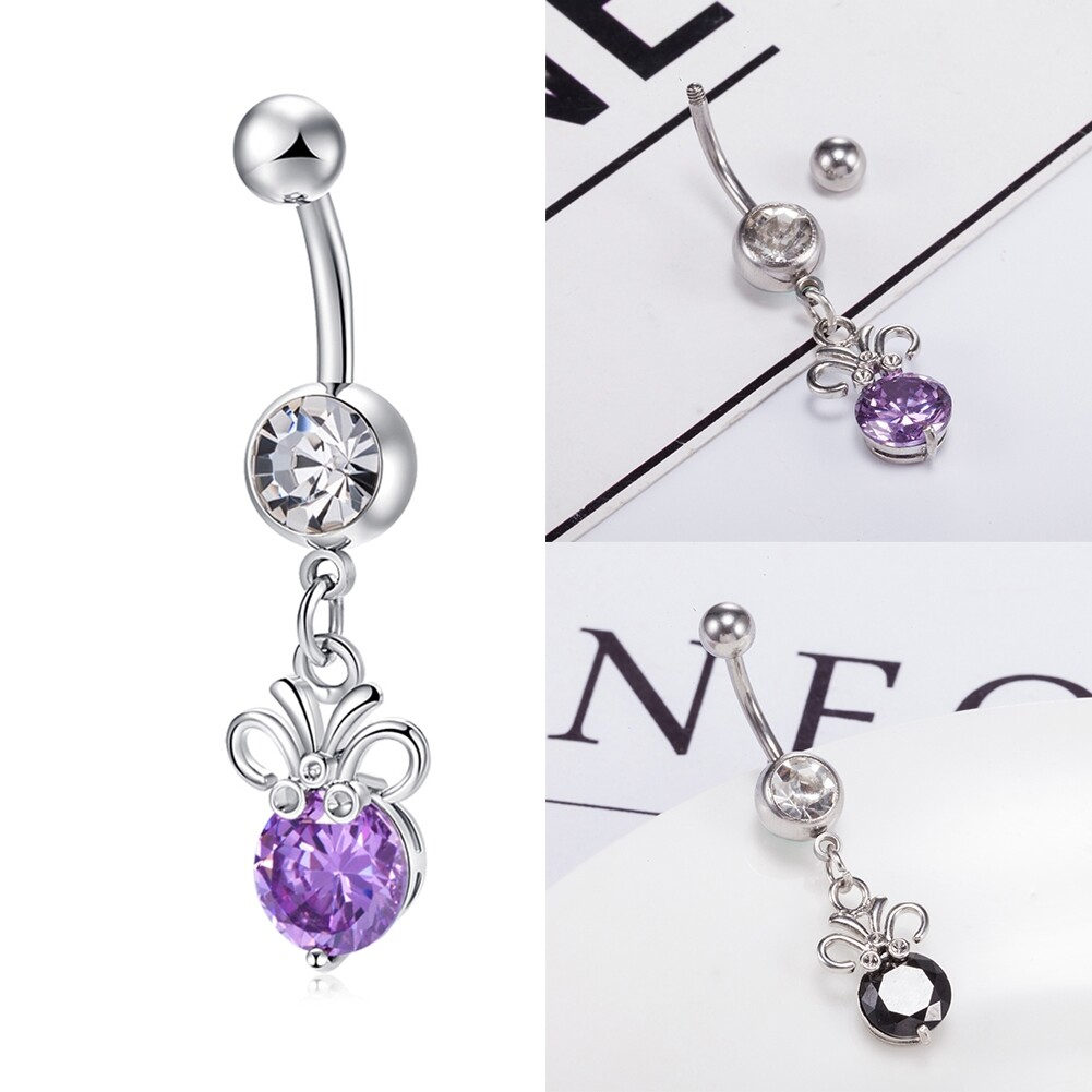 Stainless steel Belly Button Ring Body Jewelry piercing crystal stones navel umbilical nail earrings Body Jewelry P0291 10