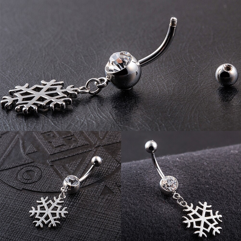 White Snow Navel Ring Platinum Plating Button Bar Barbell Body Piercing Jewelry P0079 1