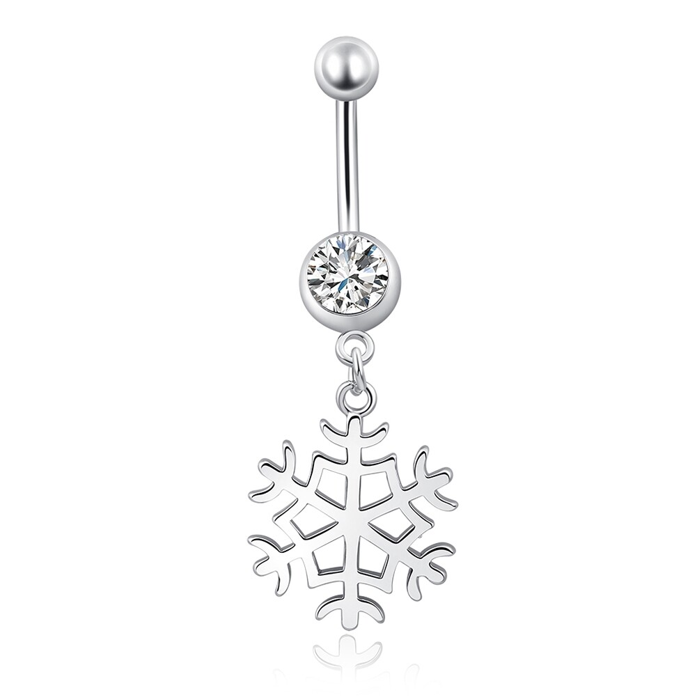 White Snow Navel Ring Platinum Plating Button Bar Barbell Body Piercing Jewelry P0079 0