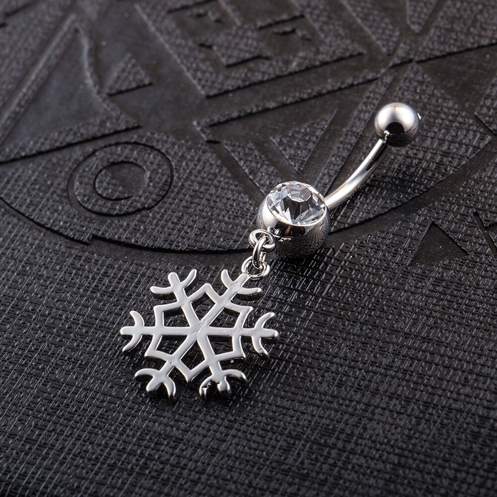 White Snow Navel Ring Platinum Plating Button Bar Barbell Body Piercing Jewelry P0079 2