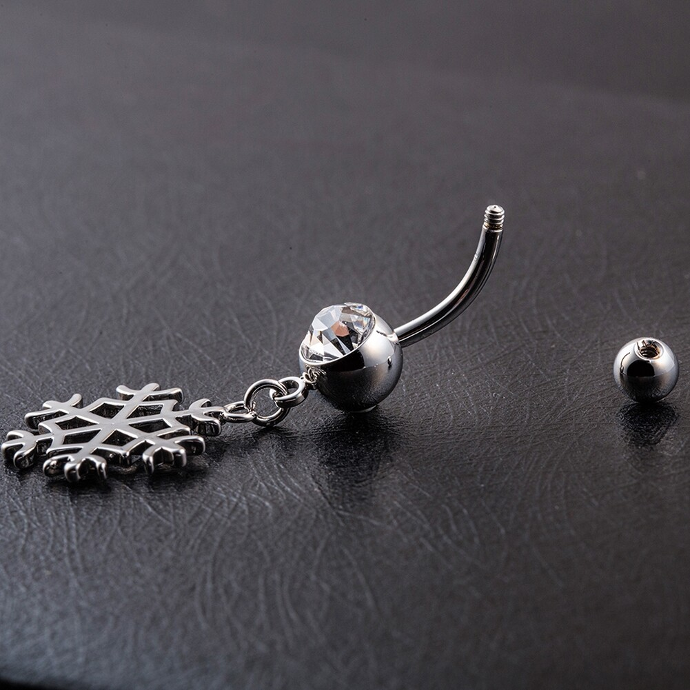 White Snow Navel Ring Platinum Plating Button Bar Barbell Body Piercing Jewelry P0079 3