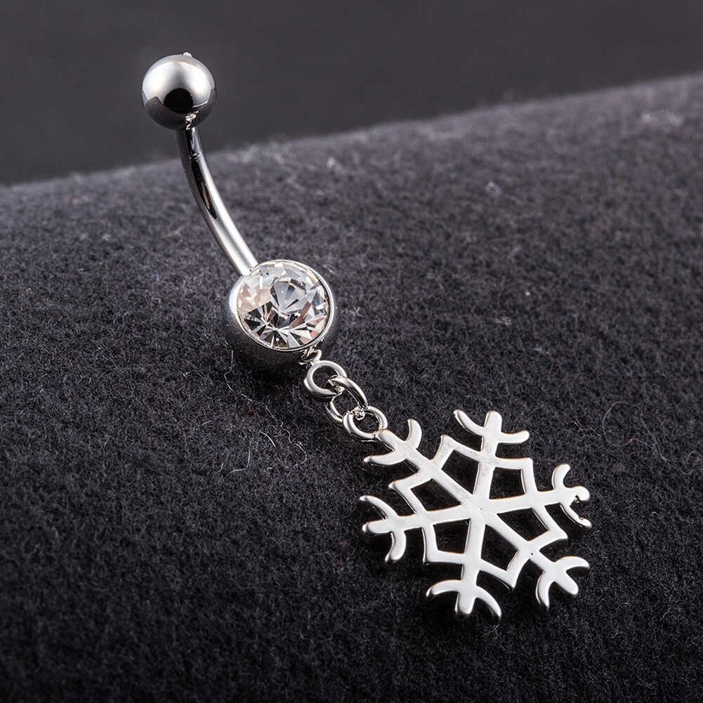 White Snow Navel Ring Platinum Plating Button Bar Barbell Body Piercing Jewelry P0079 4