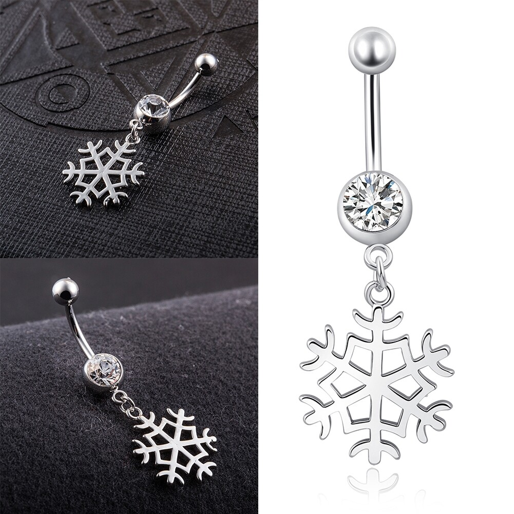 White Snow Navel Ring Platinum Plating Button Bar Barbell Body Piercing Jewelry P0079 6
