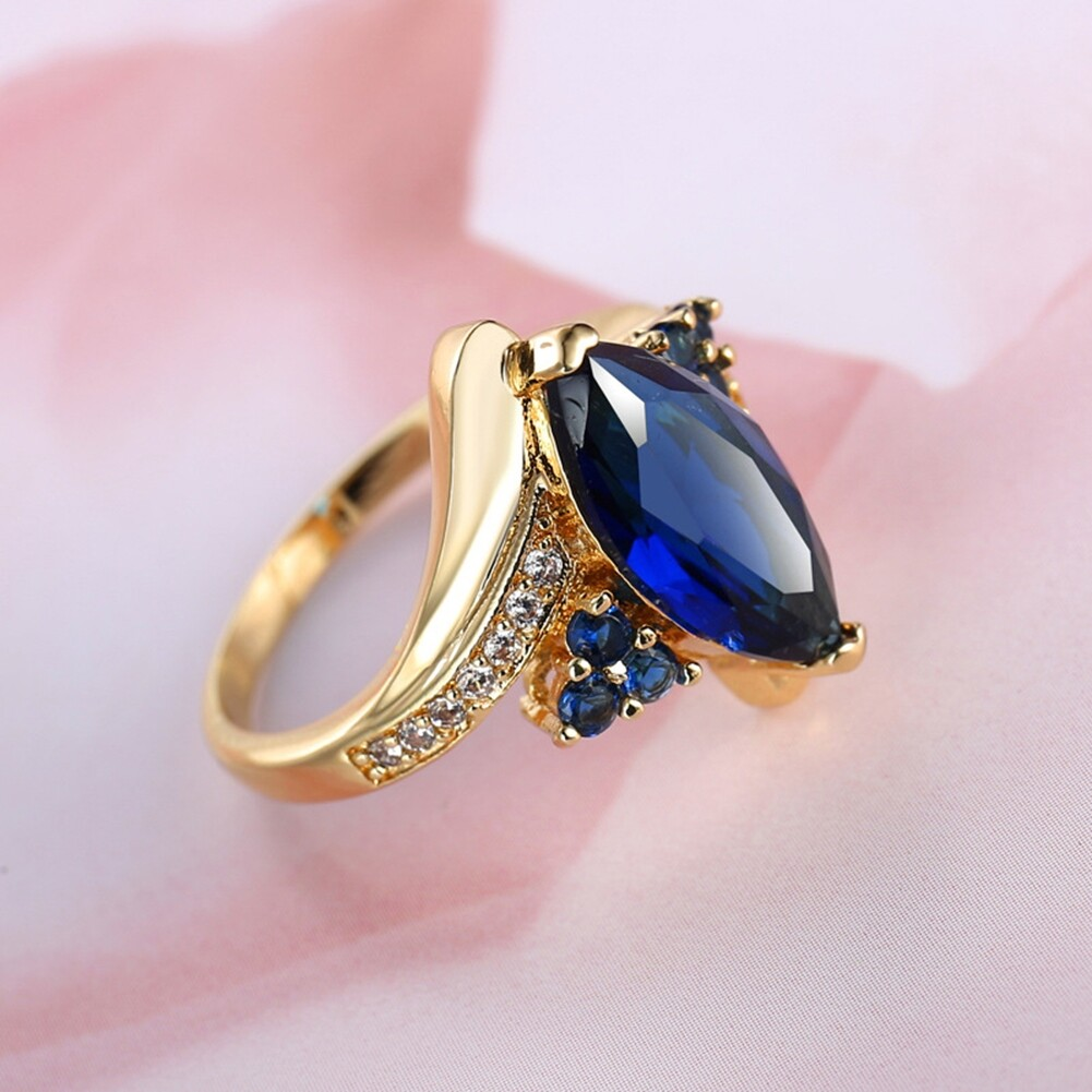Fashion Jewelry AAA Zircon Stone Finger Rings Blue Gold Filled Women Wedding Party Promise Ring JRB0009 1