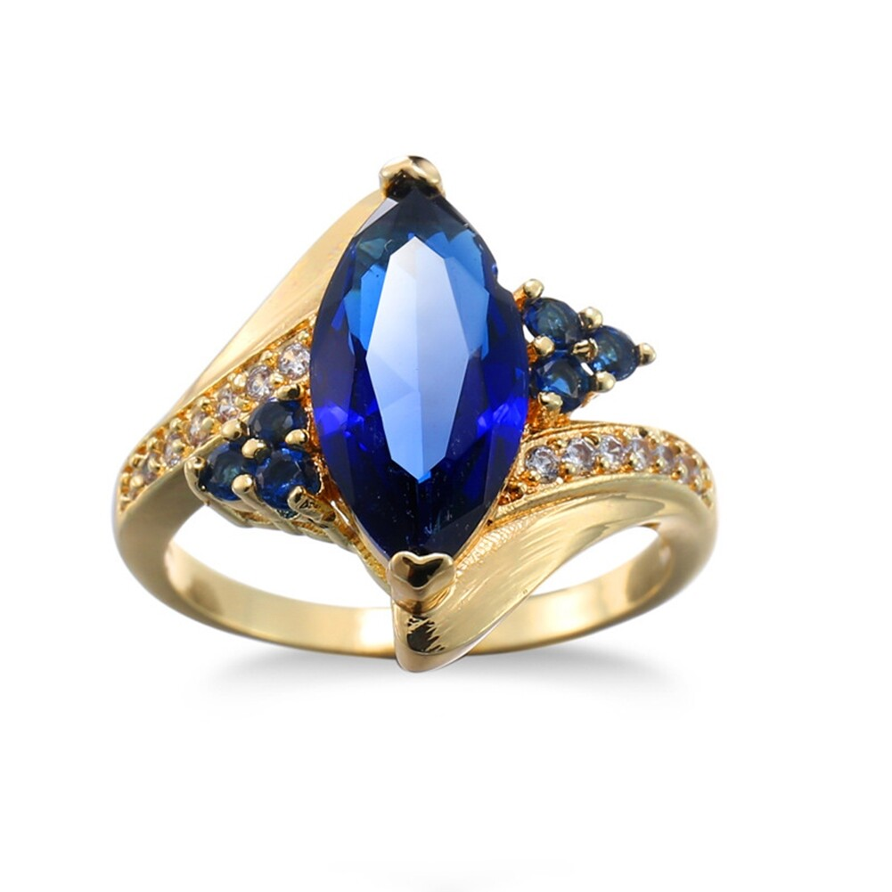 Fashion Jewelry AAA Zircon Stone Finger Rings Blue Gold Filled Women Wedding Party Promise Ring JRB0009 2