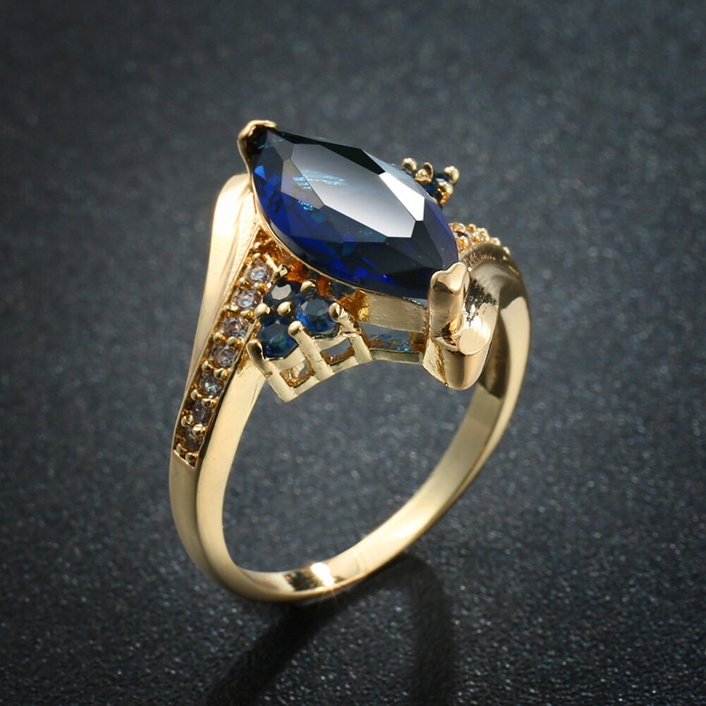 Fashion Jewelry AAA Zircon Stone Finger Rings Blue Gold Filled Women Wedding Party Promise Ring JRB0009 3
