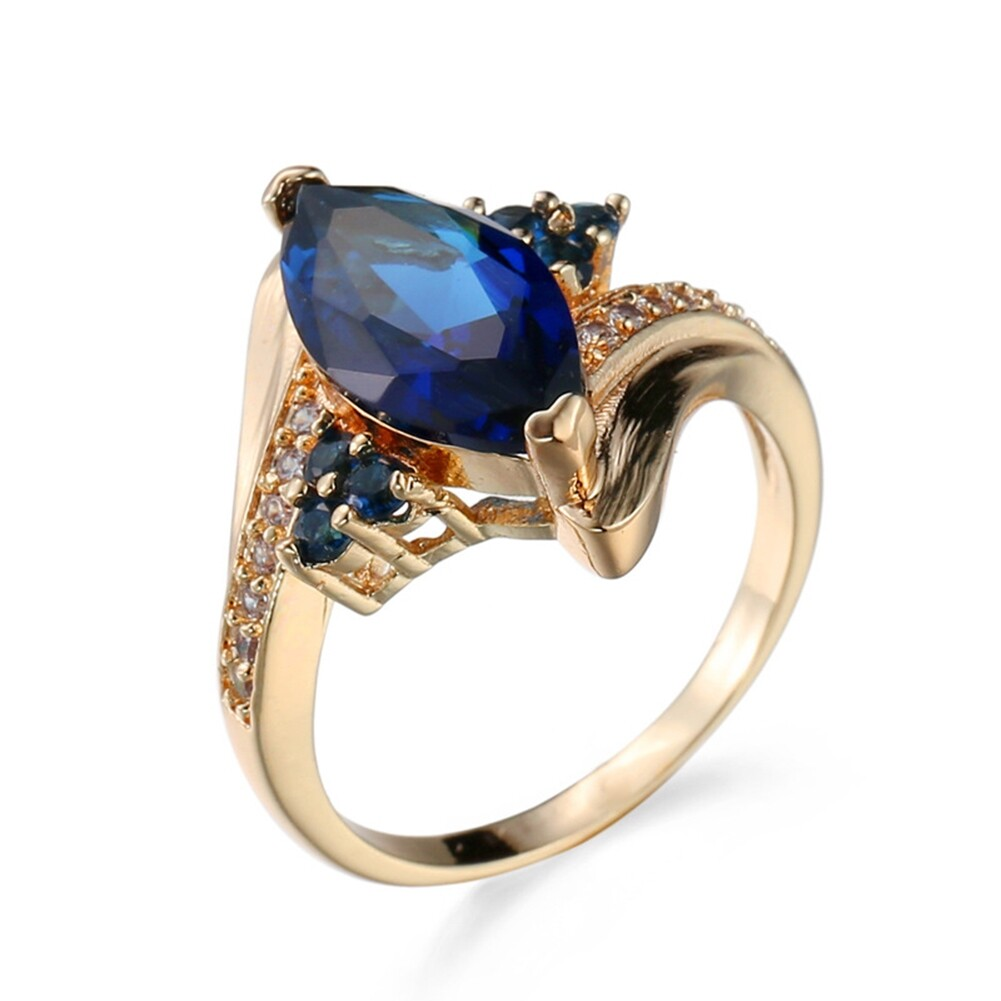 Fashion Jewelry AAA Zircon Stone Finger Rings Blue Gold Filled Women Wedding Party Promise Ring JRB0009 4