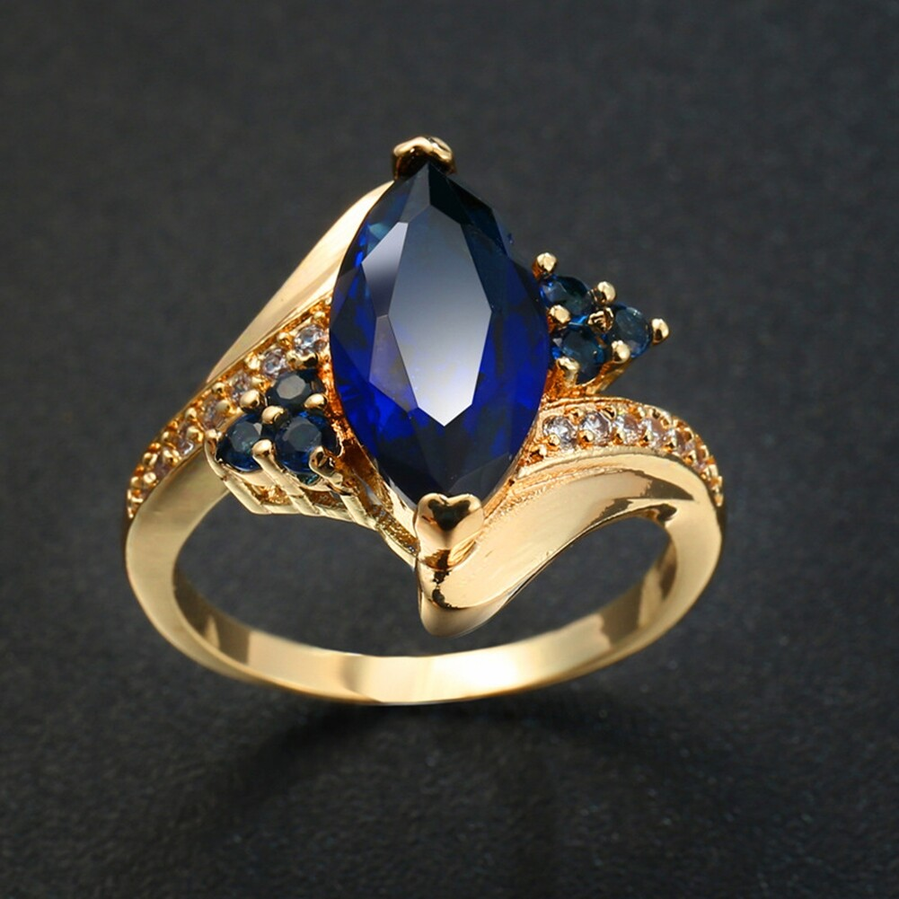 Fashion Jewelry AAA Zircon Stone Finger Rings Blue Gold Filled Women Wedding Party Promise Ring JRB0009 5