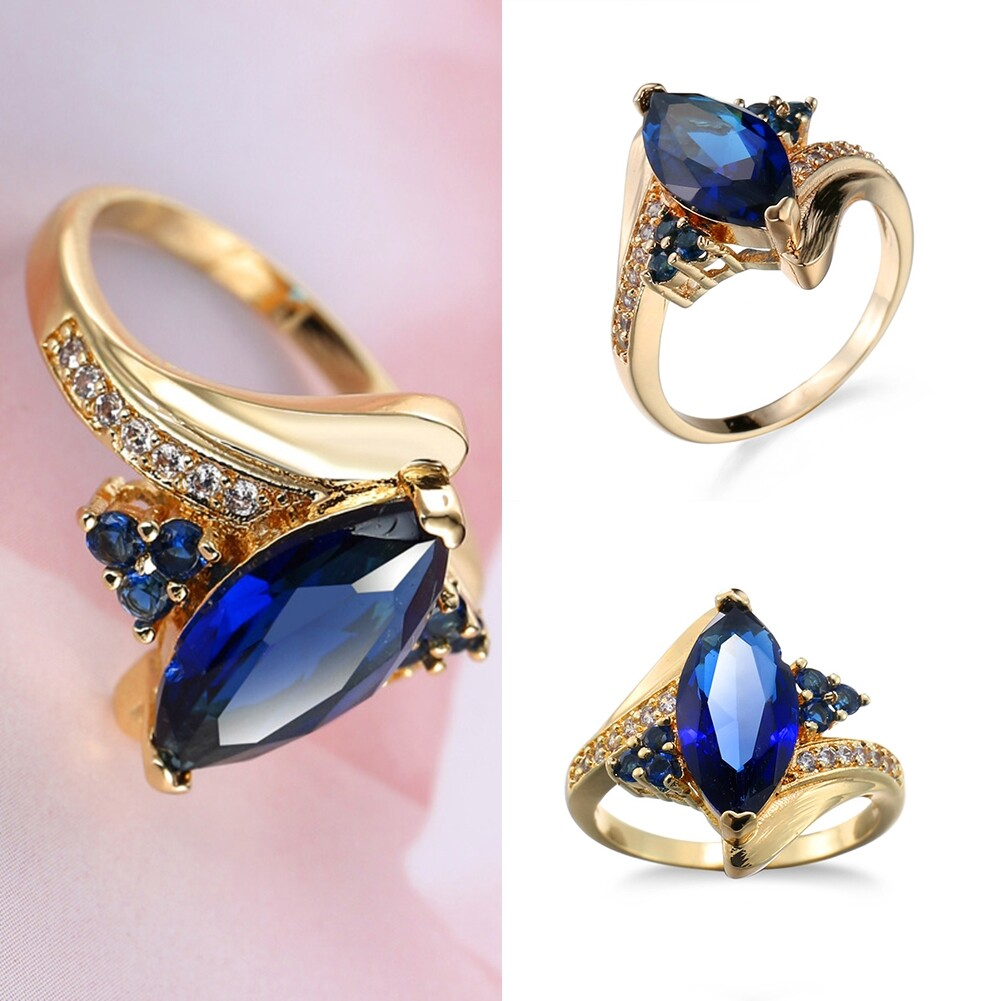 Fashion Jewelry AAA Zircon Stone Finger Rings Blue Gold Filled Women Wedding Party Promise Ring JRB0009 0