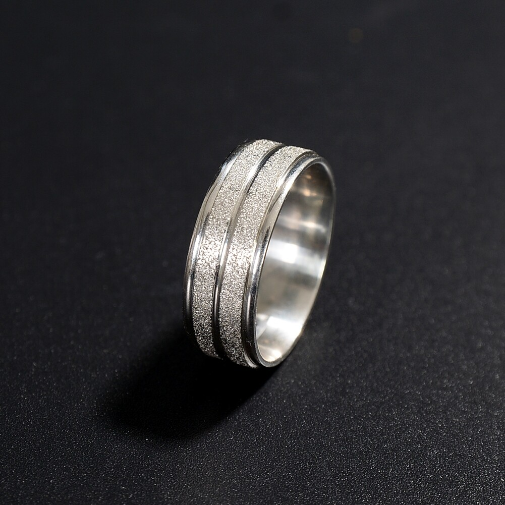 Grind Arenaceous/Rhinestone Stainless Steel Rings For Women Men Finger Jewelry JRA0014 4