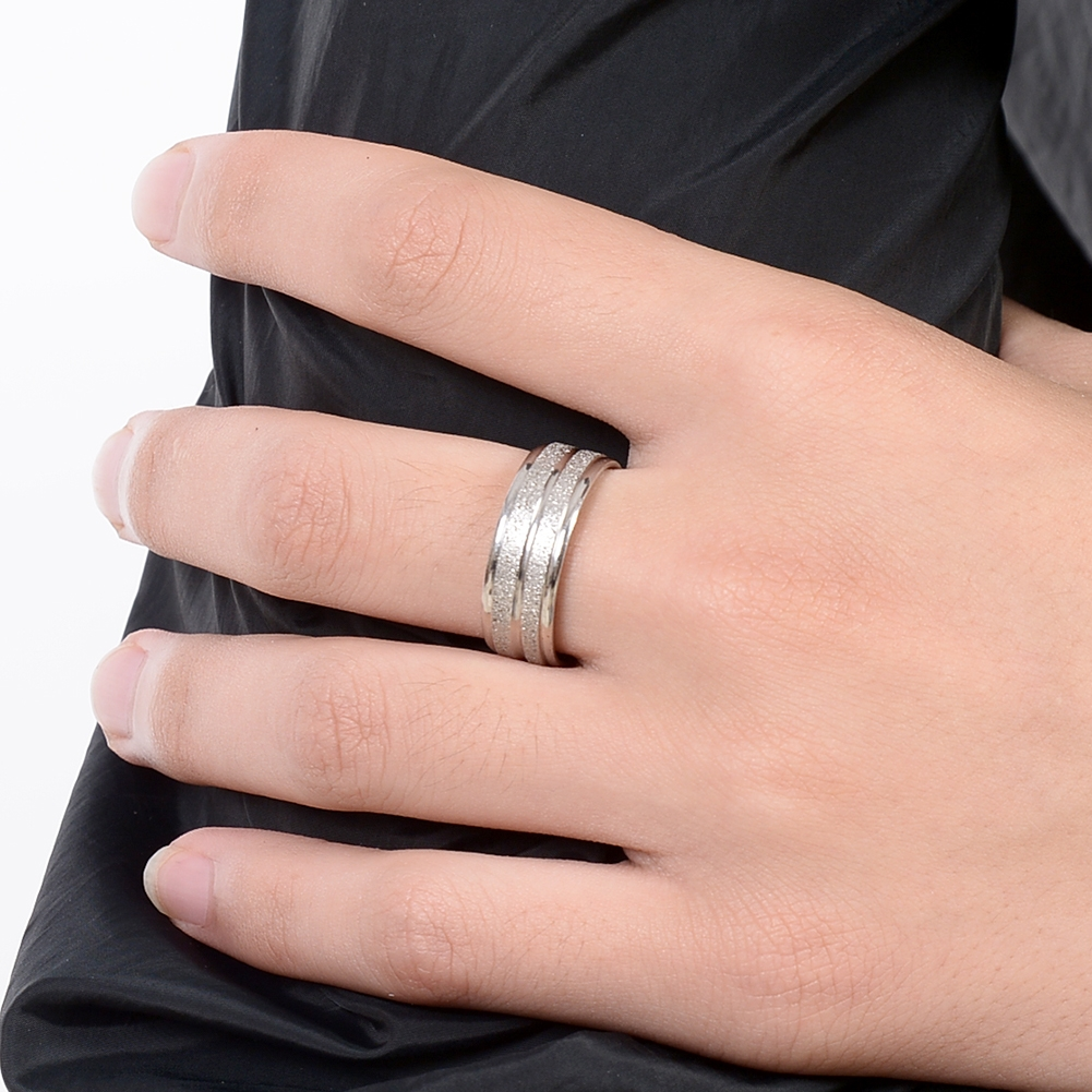 Grind Arenaceous/Rhinestone Stainless Steel Rings For Women Men Finger Jewelry JRA0014 6