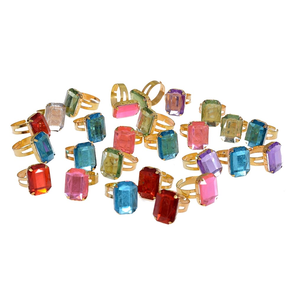 10pcs/Set Fashion Square Crystal Band Rings for Child Girls Adjustable Finger Ring Jewelry Gifts Accessories JRH0005 1
