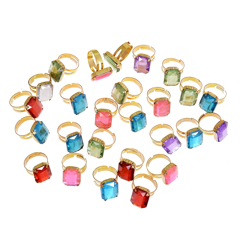 10pcs/Set Fashion Square Crystal Band Rings for Child Girls Adjustable Finger Ring Jewelry Gifts Accessories JRH0005 2