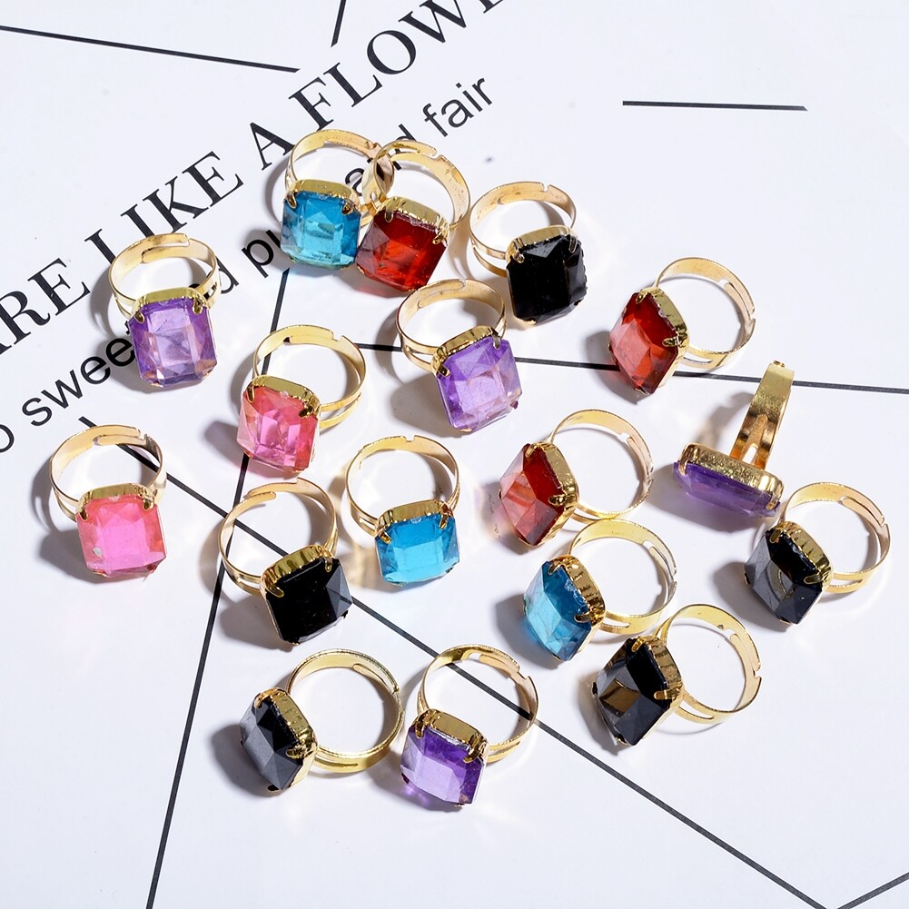 10pcs/Set Fashion Square Crystal Band Rings for Child Girls Adjustable Finger Ring Jewelry Gifts Accessories JRH0005 0
