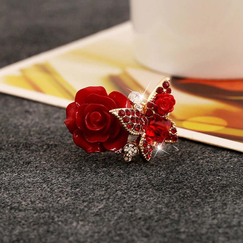 1pcs Women's Rose Flower Butterfly Resin Crystal Rhinestone Ring Adjustable GE01173 2