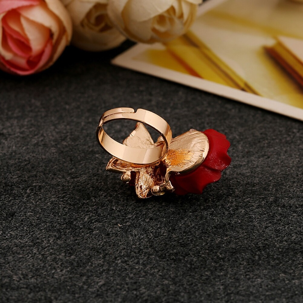 1pcs Women's Rose Flower Butterfly Resin Crystal Rhinestone Ring Adjustable GE01173 3
