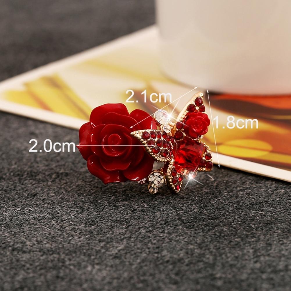1pcs Women's Rose Flower Butterfly Resin Crystal Rhinestone Ring Adjustable GE01173 4