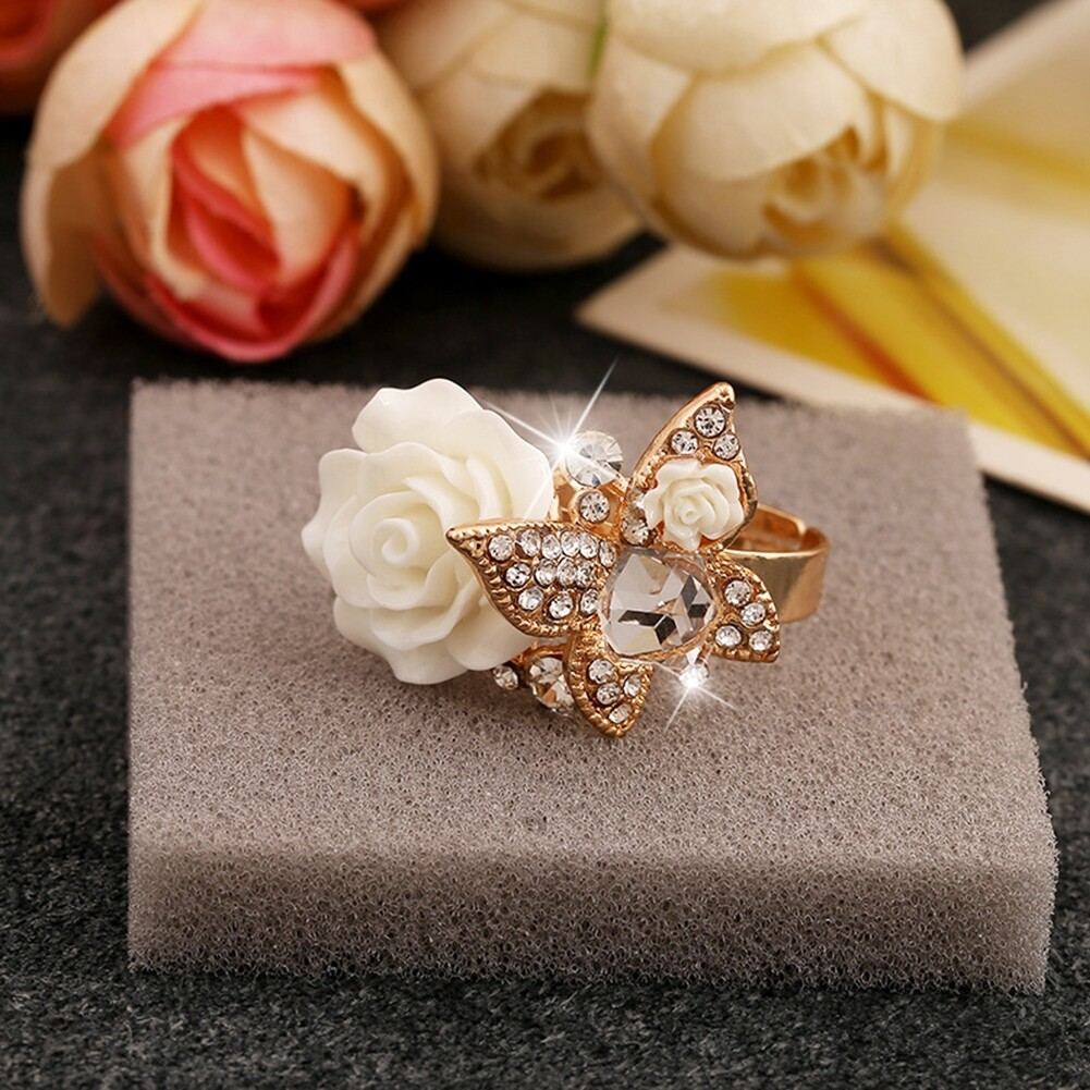 1pcs Women's Rose Flower Butterfly Resin Crystal Rhinestone Ring Adjustable GE01173 5