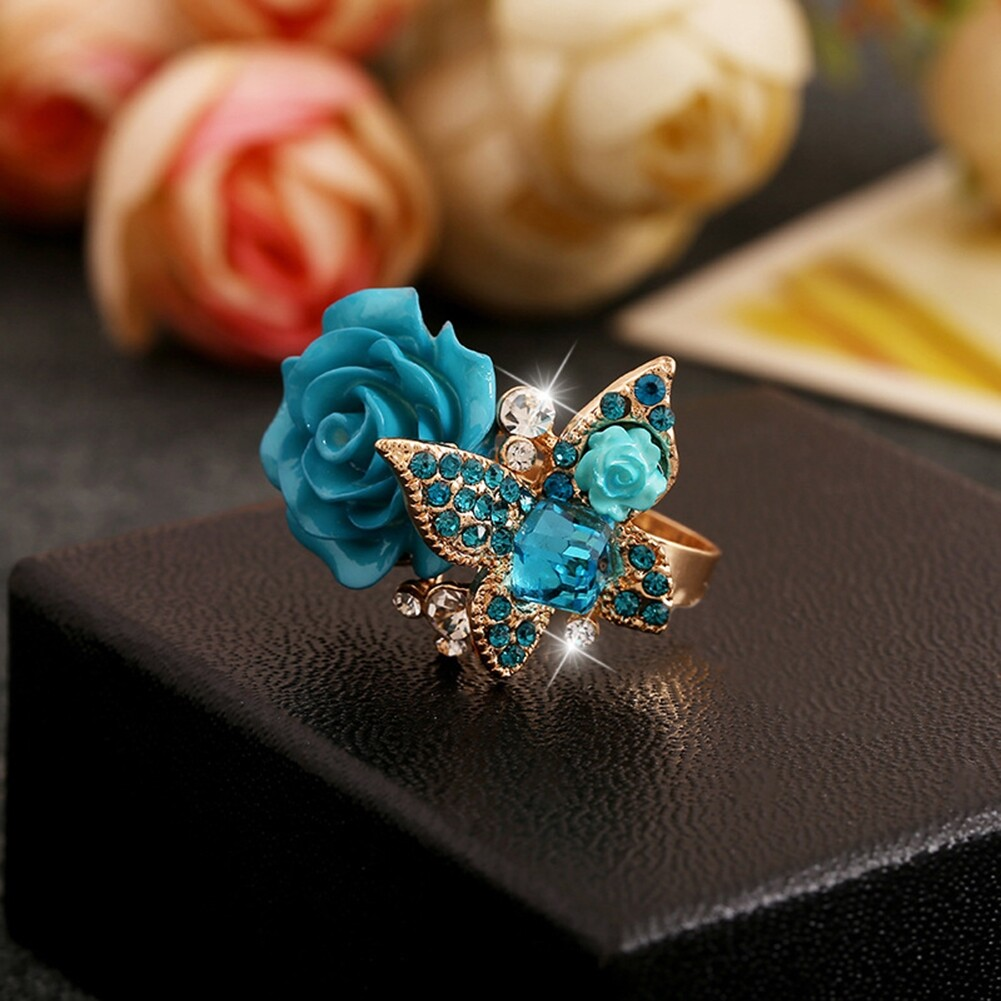 1pcs Women's Rose Flower Butterfly Resin Crystal Rhinestone Ring Adjustable GE01173 6