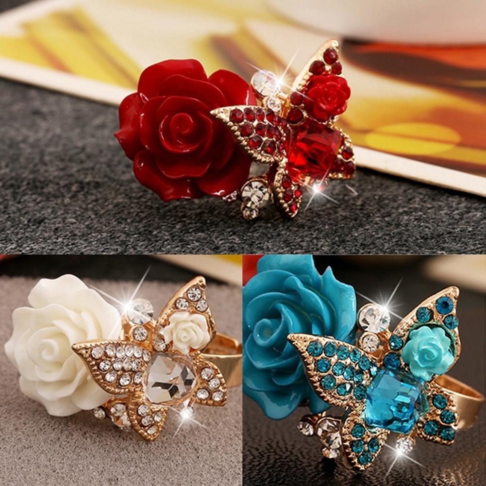 1pcs Women's Rose Flower Butterfly Resin Crystal Rhinestone Ring Adjustable GE01173 7