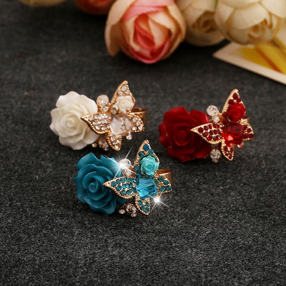 1pcs Women's Rose Flower Butterfly Resin Crystal Rhinestone Ring Adjustable GE01173 0