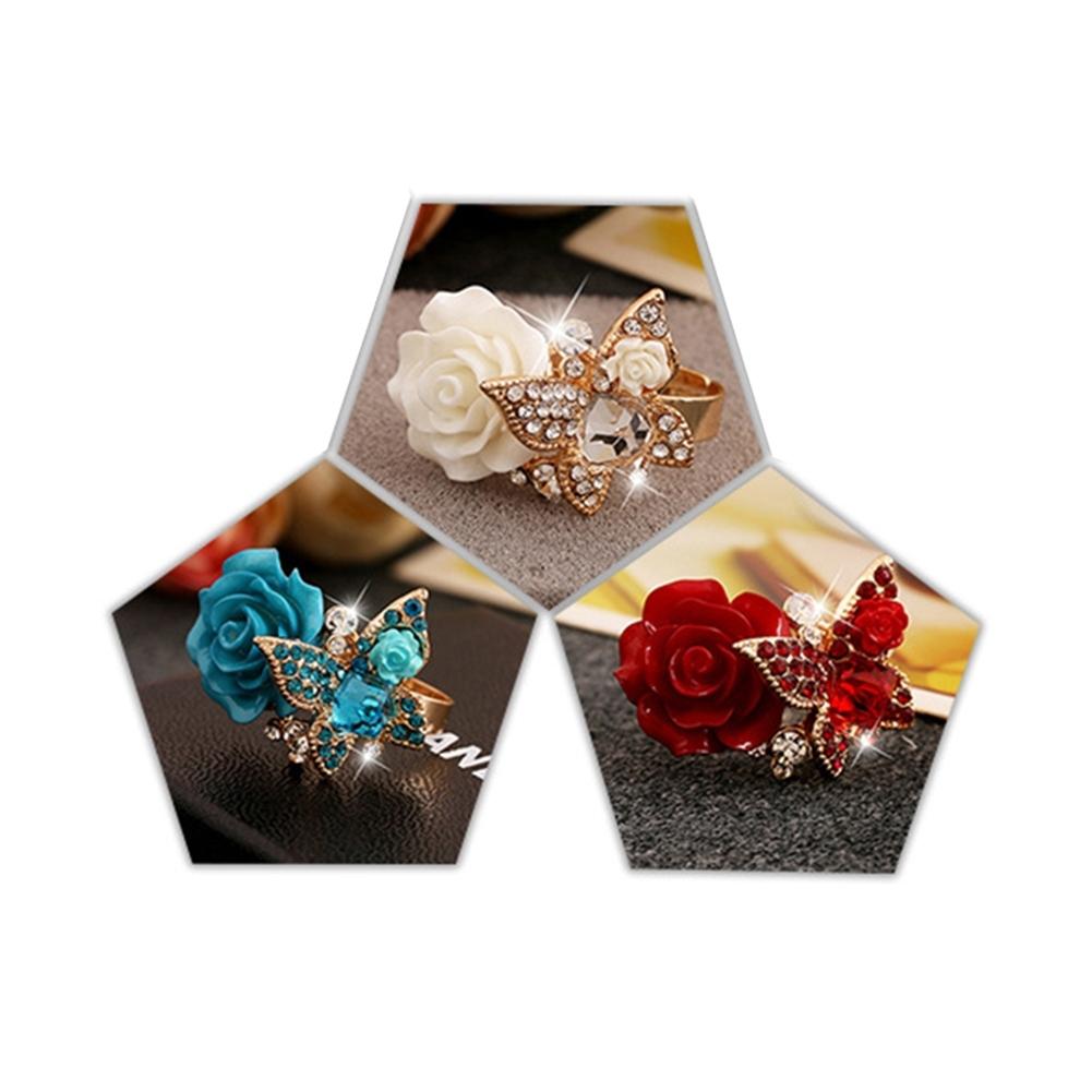 1pcs Women's Rose Flower Butterfly Resin Crystal Rhinestone Ring Adjustable GE01173 1
